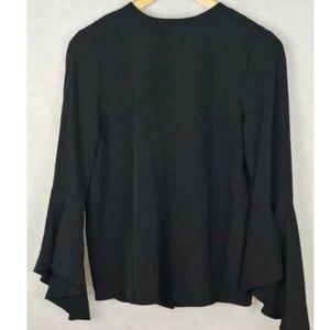 Olivia & Grace black  blouse flutter sleeves